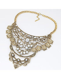 Swanky Gold Color Diamond Decorated Hollow Out Design Alloy Bib Necklaces