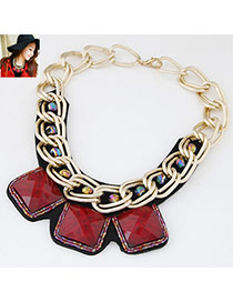 Occident Claret-red Square Gemstone Decorated Short Chain Design