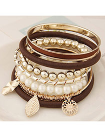 Fashion Coffee Multielement Pendant Decorated Multilayer Design  Alloy Korean Fashion Bracelet
