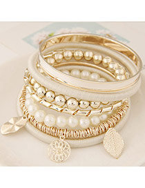 Fashion Apricot Multielement Pendant Decorated Multilayer Design Alloy Korean Fashion Bracelet
