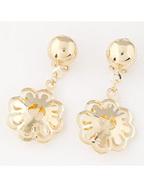 Exquisite Gold Color Hollow Out Muifa Shape Simple Design  Alloy Stud Earrings
