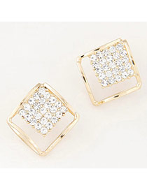 Sweet Gold Color Diamond Decorated Square Shape Design Alloy Stud Earrings