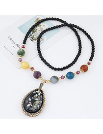 Fashion Black Beads Decorated Waterdrop Shape Pendant Design Alloy Bib Necklaces