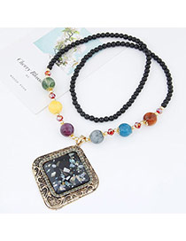 Fashion Black Beads Decorated Rhombus Shape Pendant Design Alloy Bib Necklaces