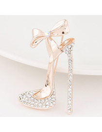 Exquisite White Bowknot Decorated High-heeled Shape Design  Alloy Korean Brooches