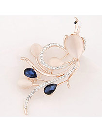 Exquisite Sapphire Blue Diamond Decorated Peacock Shape Design  Alloy Korean Brooches