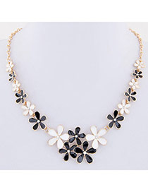 Sweet Black+white Flower Decorated Simple Design Alloy Bib Necklaces