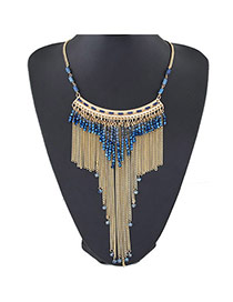 Trendy Blue Beads Decorated Tassel Design  Alloy Fashion Necklaces