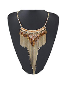 Trendy Brown Beads Decorated Tassel Design  Alloy Fashion Necklaces