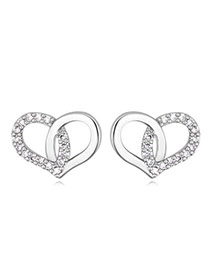 Swanky Silver Color Diamond Decorated Heart Shape Design  Cuprum Crystal Earrings