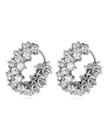 Classy Silver Color Diamond Decorated Simple Design  Cuprum Crystal Earrings