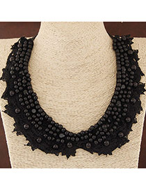Trendy Black Beads Decorated Lace Design Fabric Detachable Collars