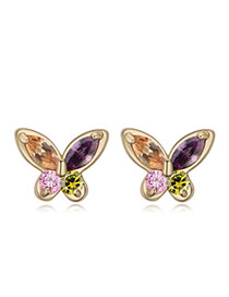 Sweet Multicolor Diamond Decorated Butterfly Shape Design  Cuprum Crystal Earrings