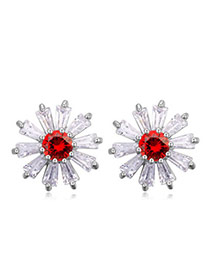 Sweet Red Diamond Decorated Flower Shape Design  Cuprum Crystal Earrings