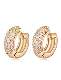 Exquisite Champagne Diamond Decorated Semicircle Design Zircon Crystal Earrings