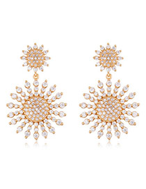 Exquisite Champagne Diamond Decorated Sunflower Shape Design Zircon Crystal Earrings