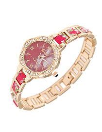 Exquisite Red Flower Pattern Decorated Simple Design  Alloy Ladies Watches