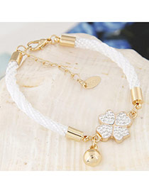 Exquisite White Clover Pendant Decorated Weave Design  Alloy Korean Fashion Bracelet