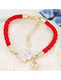 Exquisite Red Clover Pendant Decorated Weave Design  Alloy Korean Fashion Bracelet