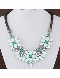 Sweet Light Green Gemstone Decorated Flower Shape Design Alloy Bib Necklaces