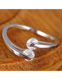Sweet Silver Color Diamond Decorated Open Design  Alloy Korean Rings