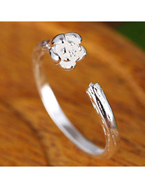 Sweet Silver Color Flower Decorated Open Design  Alloy Korean Rings