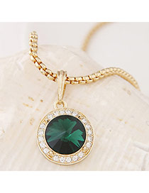 Swanky Green&gold Color Diamond Decorated Round Pendant Design Alloy Chains