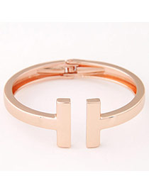 Trendy Rose Gold Pure Color Open Design  Alloy Fashion Bangles