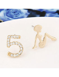 Fashion Gold Color Girl Shape Decorated Asymmetry Design