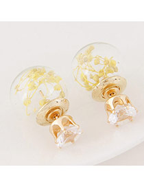 Sweet Yellow Flower Decorated Round Shape Design  Alloy Stud Earrings