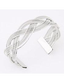 Fashion Silver Color Metal Weave Open Design  Alloy Fashion Bangles