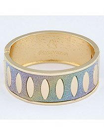 Personality Multicolor+gold Color Oval Pattern Decorated Simple Design  Alloy Fashion Bangles