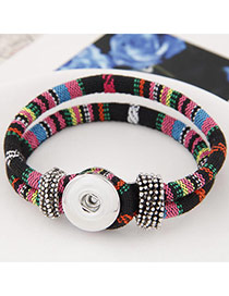 Bohemian Multi-color Button Decorated Weave Design  Alloy Korean Fashion Bracelet