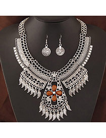 Retro Silver Color Leaf Shape Decorated Hollow Out Design  Alloy Jewelry Sets