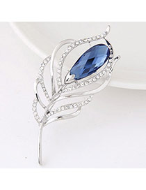 Sweet Blue Gemstone Decorated Feather Shape Design  Alloy Korean Brooches