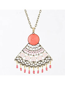 Fashion Watermelon Red Gemstone Decorated Fan Shape Pendant Design Alloy Bib Necklaces