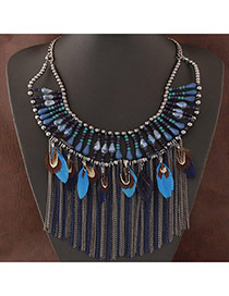Exaggerate Blue Feather&tassel Decorated Collar Design Alloy Bib Necklaces