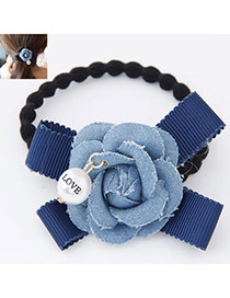 Fashion Light Blue Flower Decorated Simple Design  Fabric Hair band hair hoop