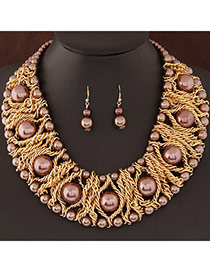 Fashion Coffee Pearl Decorated Weave Design  Alloy Jewelry Sets