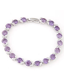 Fashion Purple Diamond Decorated Simple Design  Cuprum Fashion Bracelets