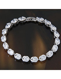 Fashion White Diamond Decorated Simple Design  Cuprum Fashion Bracelets