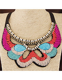Bohemia Multi-color Geometric Shape Decorated Beads Weave Collar Design