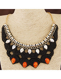 Bohemia Black Beads Dcorated Hollow Out Collar Design Alloy Bib Necklaces