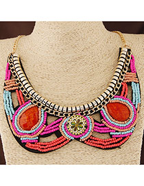 Bohemia Multi-color Beads Weave Decorated Hollow Out Collar Design