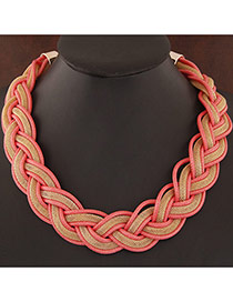 Exquisite Watermelon Red Metal Chian Weave Decorated Simple Design Alloy Bib Necklaces