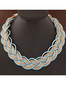 Exquisite Light Blue Metal Chian Weave Decorated Simple Design