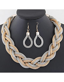 Fashion Gray Metal Chain Weave Simple Design Alloy Jewelry Sets