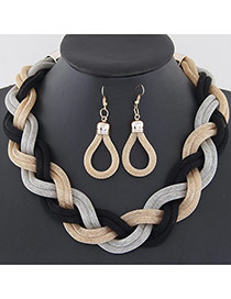 Fashion Gold Color Metal Chain Weave Simple Design Alloy Jewelry Sets
