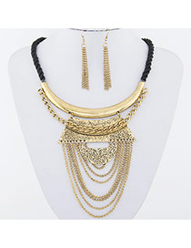 Retro Gold Color Metal Chain Decorated Geometric Shape Design Alloy Jewelry Sets