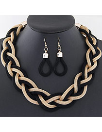 Fashion Black Metal Chain Weave Simple Design Alloy Jewelry Sets